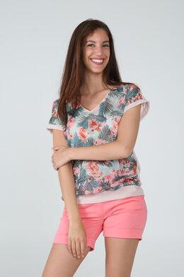 T-shirt imprimé de fleurs et lurex, Turquoise