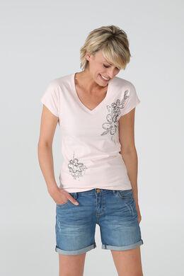Katoenen T-shirt met kralenbloemen, Blush