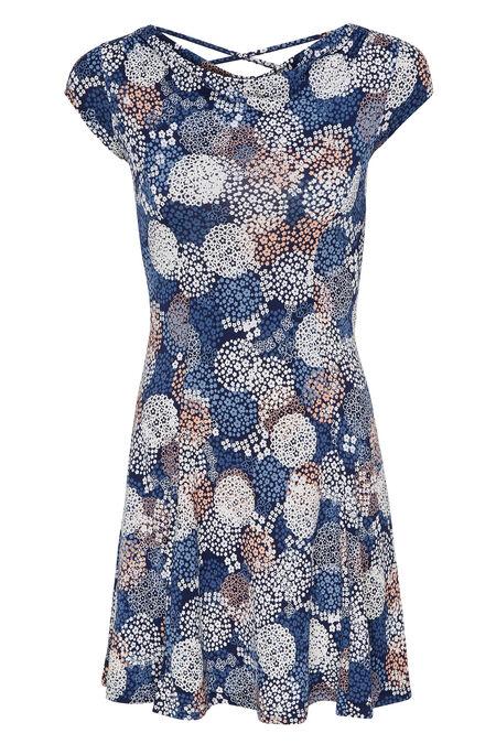 robe imprimé fleuri - Marine