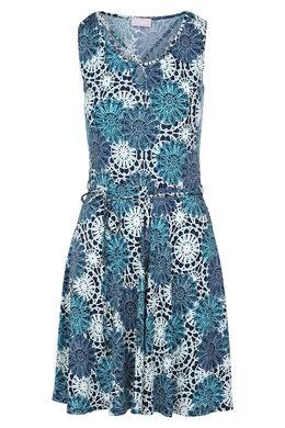 Jurk met bloemenprint en gomreliëf, Marineblauw