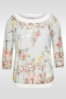 T-shirt in kant met bloemenprint, Kaki
