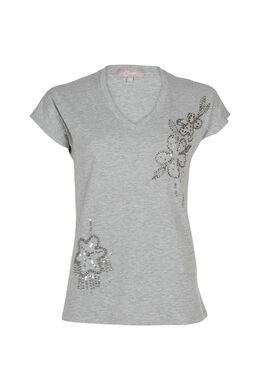 Katoenen T-shirt met kralenbloemen, Gris Chine