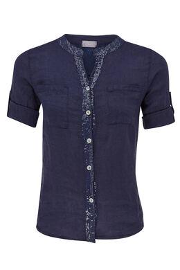 Tuniek in linnen met lovertjes, Marineblauw
