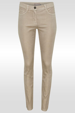 Pantalon slim peau de serpent, Sable