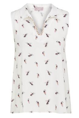 Mouwloze bloes met kolibries, Ecru