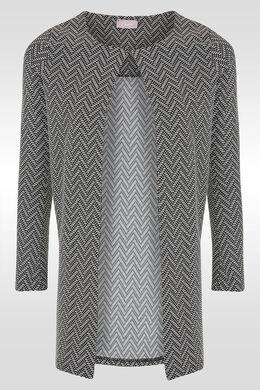 Veste manteau imprimé chevrons, Noir/Ecru