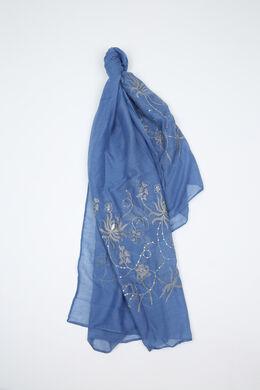 Foulard brodé de fleurs et de sequins, Bleu