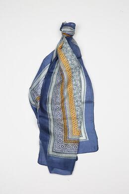 Bedrukte zijden foulard, Marineblauw