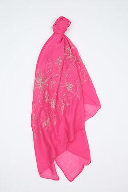 Foulard brodé de fleurs et de sequins, Fushia