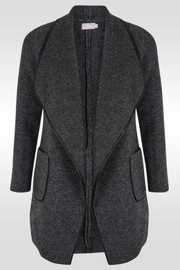 Mantel in wollen stof met sjaalkraag, Antraciet