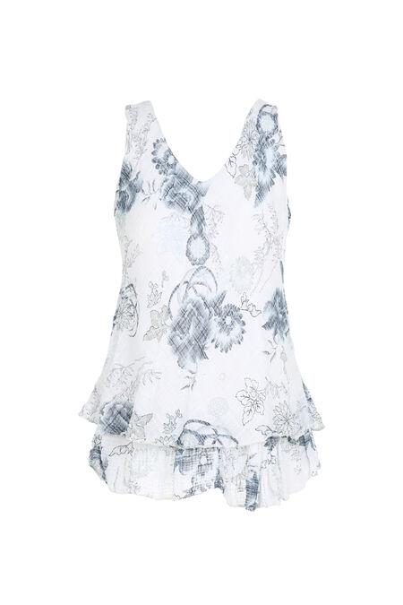 Top sans manches imprimé de fleurs - Blanc