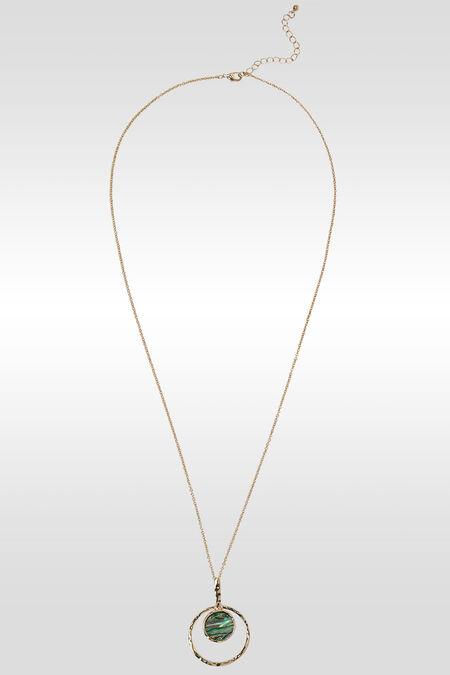 Lang halssnoer met een rondje en cirkel - Goud