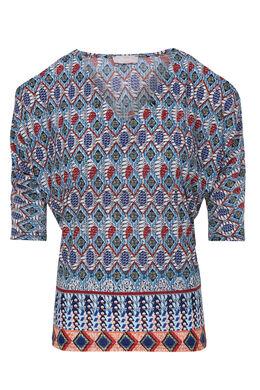 T-shirt met blote schouders en print, Marineblauw