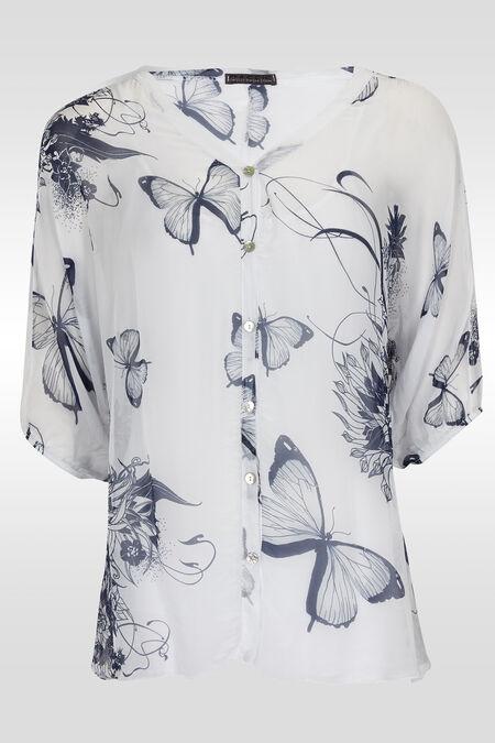 Tuniekbloes met vlinders en bloemen - Wit