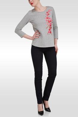 Sweatshirt met geborduurde bloemen, Gris Chine