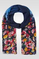 Grote foulard met bloemenprint, Marineblauw
