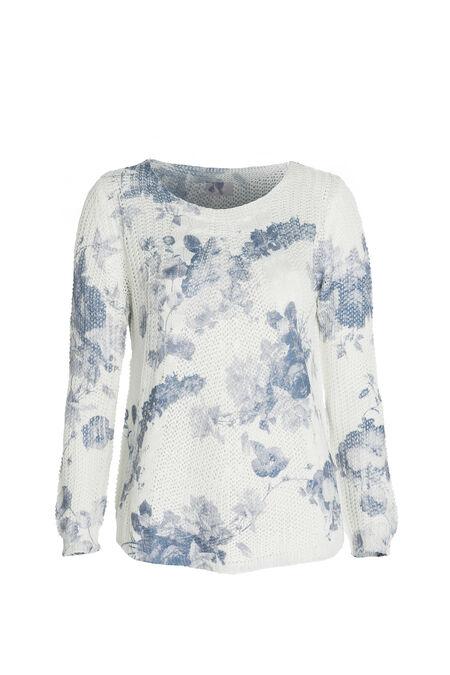 Pull en maille imprimé fleurs - Bleu Delphes