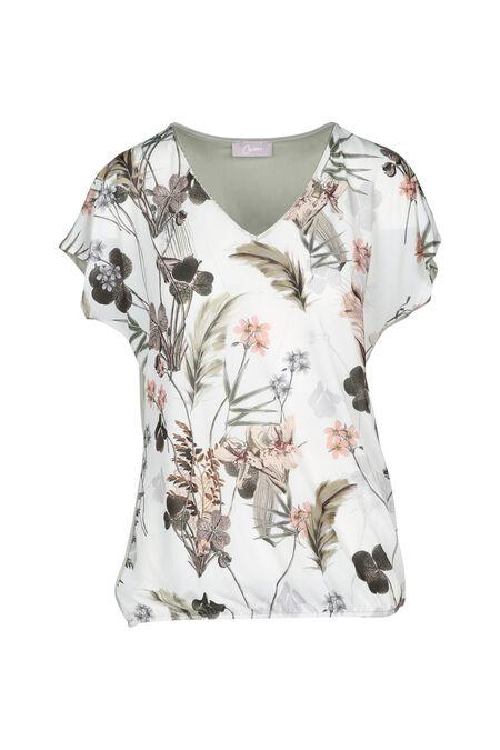 T-shirt met bloemenprint - Ecru