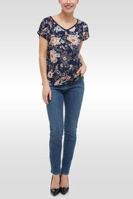 T-shirt in twee stoffen met bloemenprint, Marineblauw