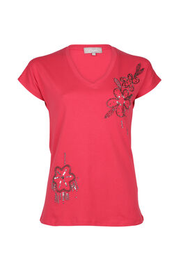 Katoenen T-shirt met kralenbloemen, Fushia