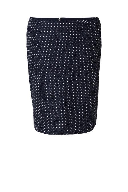 Rechte rok in stippenkant - Marineblauw