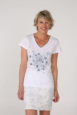 T-shirt met lovertjes en kralen, Wit