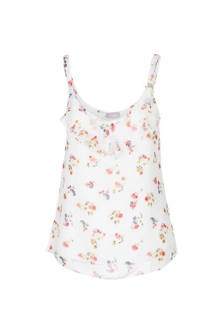 Top met dunne schouderbandjes en bloemen - Ecru