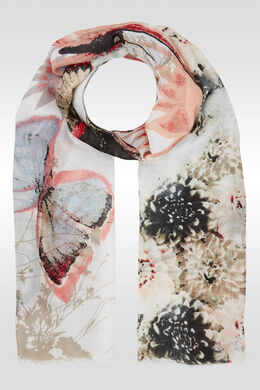Foulard imprimé grands papillons, Framboise