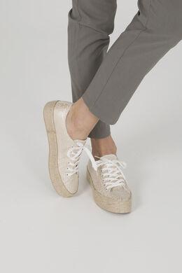 Schoenen met gevlochten plateauzolen, huidskleur