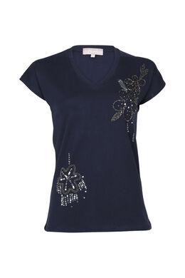 Katoenen T-shirt met kralenbloemen, Marineblauw
