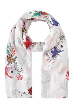 Foulard oiseaux papillons et fleurs, Blanc