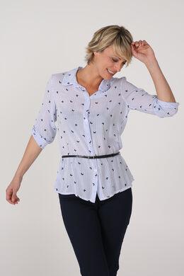 Gestreept hemd met vlindermotief, Blauw