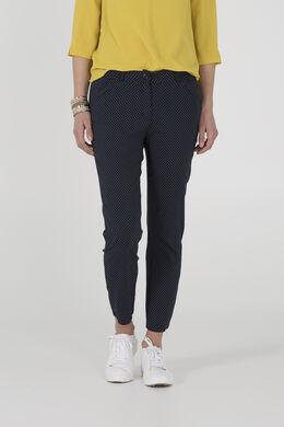 Pantalon met bolletjesprint, Marineblauw
