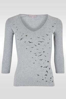 T-shirt print/lovertjes vliegende vogels, Gris Chine