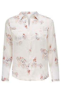 Satijnen bloes met Japanse print, Wit