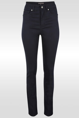 Slim push-upbroek met hoge taille, Marineblauw