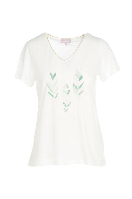 T-shirt imprimé 3 plumes - Ecru