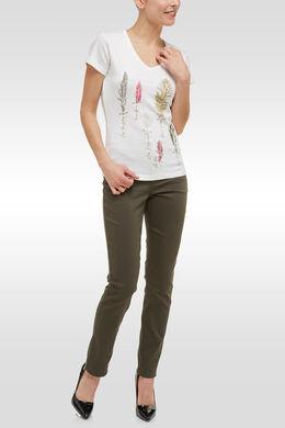 T-shirt en coton print plumes, Ecru