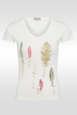 Katoenen T-shirt met pluimenprint, Ecru