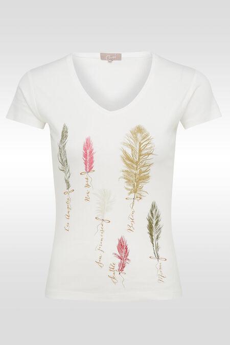 T-shirt en coton print plumes - Ecru