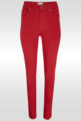 Pantalon push up taille haute slim, Rouge