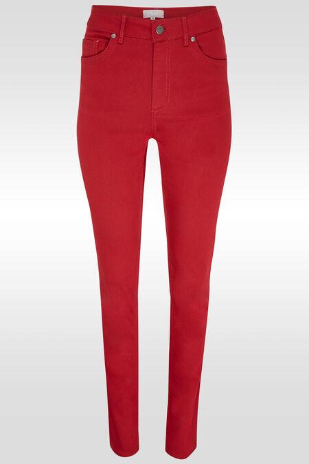 Pantalon push up taille haute slim - Rouge