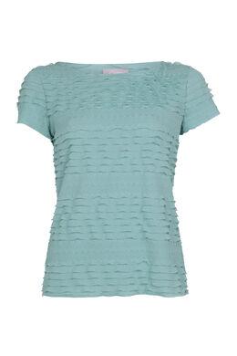 T-shirt met volants, Turquoise