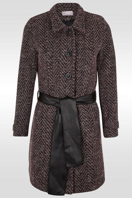 Lange wollen mantel met brede riem - Roze