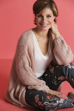 Cardigan loose grosse maille, Blush