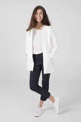 Veste longue en jacquard minimaliste, Ecru