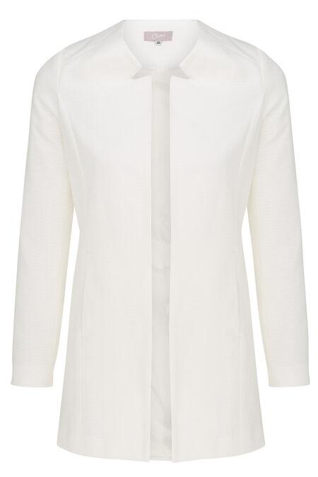 Veste longue en jacquard minimaliste - Ecru