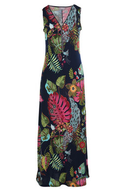 Lange jurk met exotische print, Multicolor