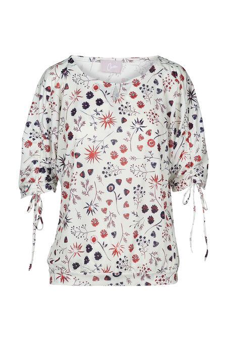 T-shirt, mouwen met tunnel, bloemenprint - Ecru