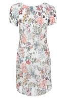 Robe plissée imprimé de fleurs, Ecru
